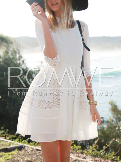 White-With-Lace-Flare-Dress-
